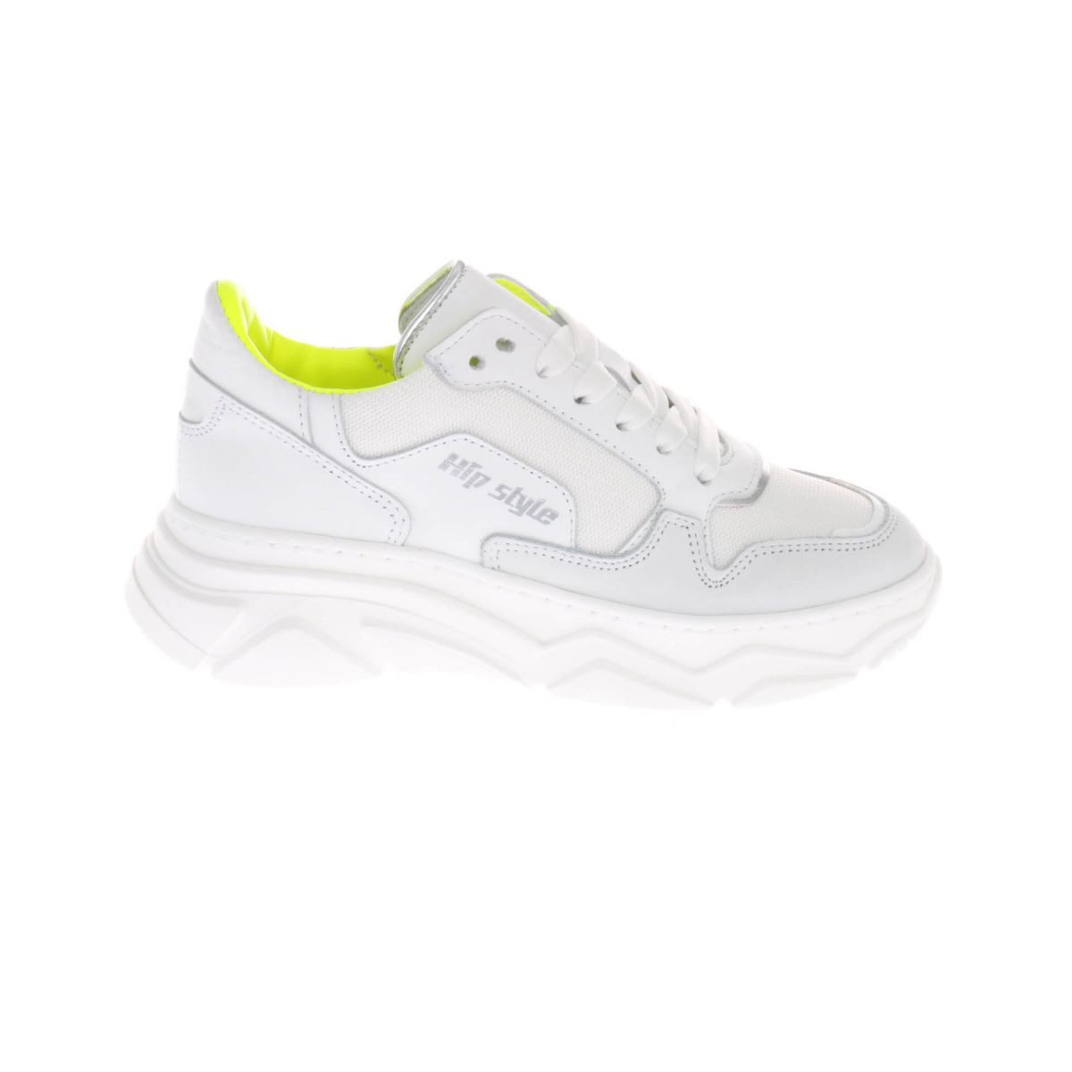 HIP H1266 Sneakers Wit Fluor Geel