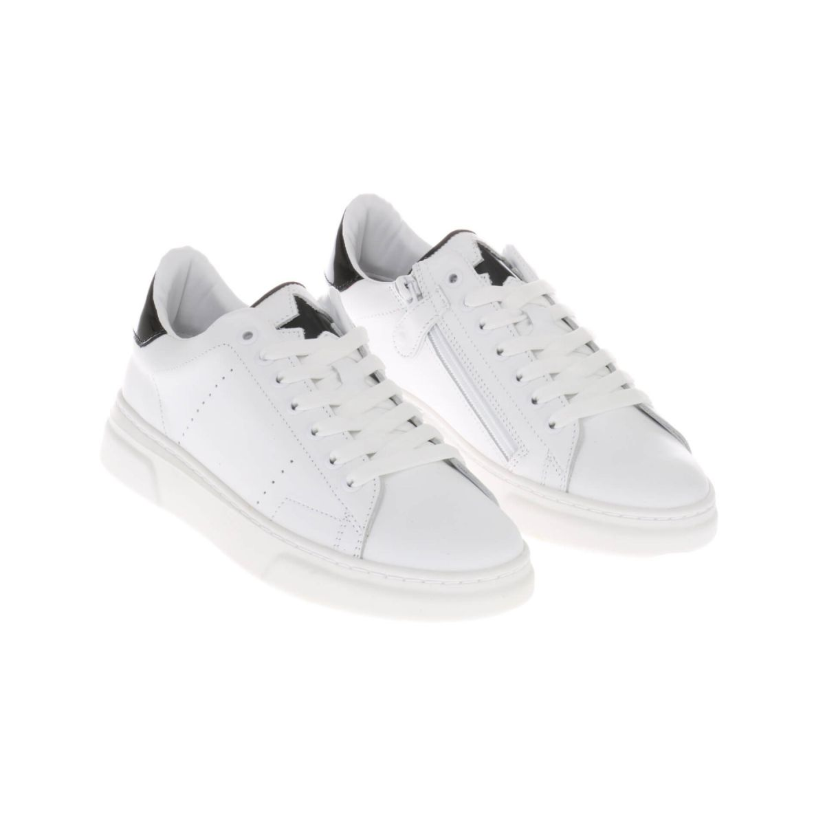 HIP H1279 Sneakers Wit Zwart Lak