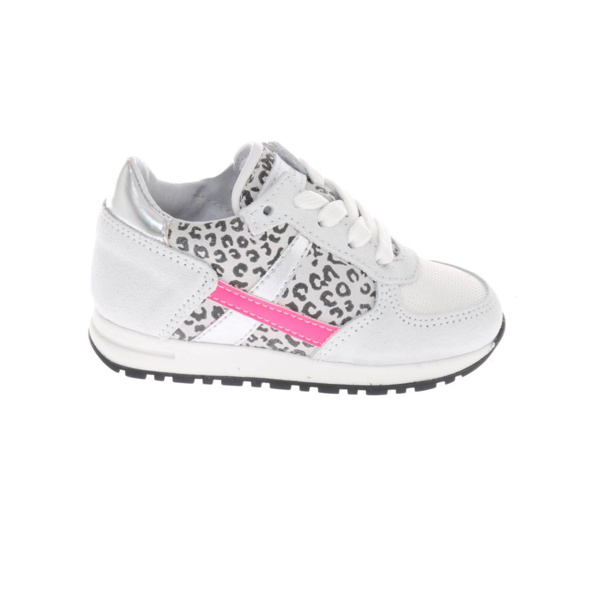 Pinocchio P1841 Sneakers Wit Panter Roze